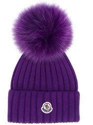 Moncler Pompom Detail Hat Purple