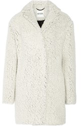 Kenzo Double Breasted Faux Fur Coat White