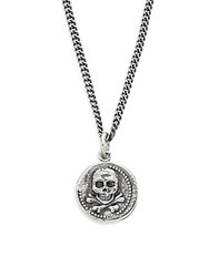King Baby Studio Sterling Silver Large Skull Coin Pendant Necklace