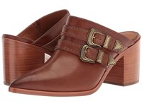 Frye Flynn Belted Mule Cognac Tumbled Buffalo Women's Clog Mule Shoes Brown