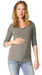 Ingrid And Isabel Long Sleeve Henley Olive