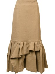 Lanvin Ruched Detail Pencil Skirt Nude And Neutrals