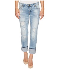 Kut From The Kloth Catherine Wide Cuff In Hail Hail Medium Light Base Wash Women's Jeans Blue