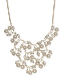 Inc International Concepts Gold Tone Pave And Imitation Pearl Flower Statement Necklace 16 3 Extender Created For Macy's