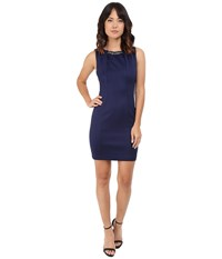 Jessica Simpson Embellished Sleeveless Scuba Dress Js5d7736 Navy