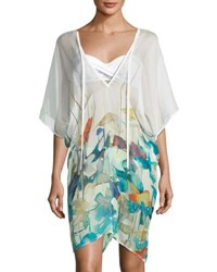 Shan Lily V Neck Watercolor Print Poncho Coverup Multi