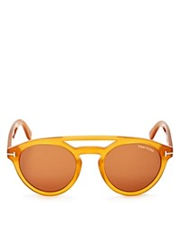 Tom Ford Clint Round Wayfarer Sunglasses 50Mm Yellow Brown Solid