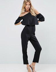 Asos Jumpsuit With Ruffle Bardot And Halter Neck Detail Black