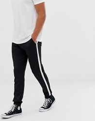 Kiomi Cuffed Joggers In Black With Side Stripe