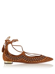 Aquazzura Christy Embroidered Suede Flats Tan Multi