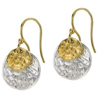 Dower And Hall Sterling Silver And 18Ct Gold Vermeil Double Hammered Disc Nomad Drop Earrings Silver Gold