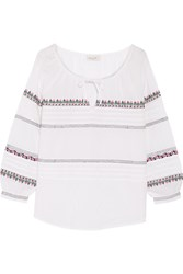 Paul And Joe Embroidered Cotton Blouse Off White