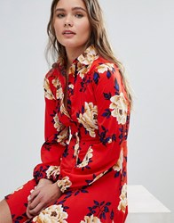 Influence Frill Skater Shirt Dress In Floral Print Red