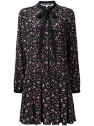 Mcq By Alexander Mcqueen Pleated Floral Print Dress Black