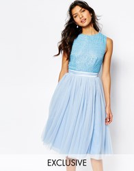 Maya Embellished Top Midi Dress With Tulle Skirt Blue