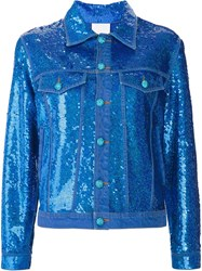 Ashish Sequin Effect Denim Jacket Blue