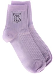 Burberry Monogram Intarsia Socks Purple
