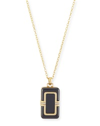 18K Ceramic Rectangle Locket With Diamonds 32'L Monica Rich Kosann
