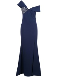 Badgley Mischka Off The Shoulder Embellished Dress Blue