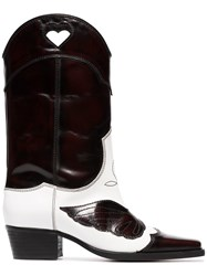 Ganni White And Dark Brown Marlyn 45 Leather Cowboy Boots Black