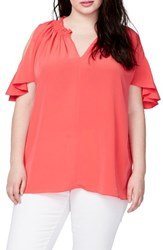 Rachel Roy Plus Size Women's Vanessa Cold Shoulder Top Paradise