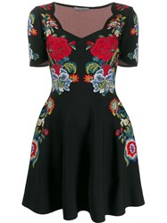 Alexander Mcqueen Floral Embroidered Mini Dress Black