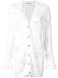 Marco De Vincenzo Flower Embellished Long Cardigan White