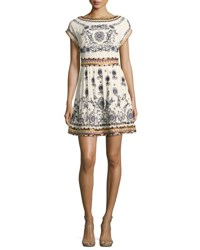Alice Olivia Gertie Embroidered Flare Dress Multi