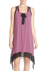 Women's Dkny Chiffon And Jersey Chemise Pink Disco Stripe