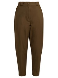 Rachel Comey Leonard Cotton Blend High Rise Tapered Trousers Khaki