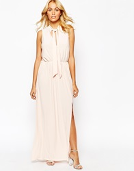 Love Slinky Maxi Dress With Deep Plunge And Scarf Detail Nude