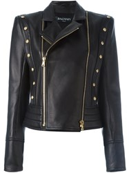 Balmain Studded Biker Jacket Black