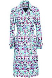 Emilio Pucci Double Breasted Printed Cotton Blend Trench Coat Jade