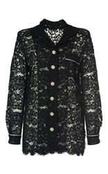 Dolce And Gabbana Long Sleeve Lace Shirt Black