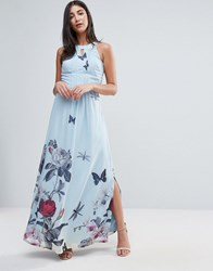 Yumi Uttam Boutique Maxi Dress With Pleated Neckline In Floral Print Pale Blue