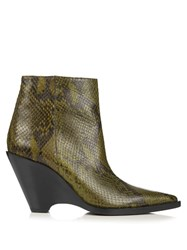 Acne Studios Caroline Snake Effect Leather Ankle Boots Khaki