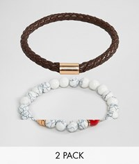 Aldo Faux Leather And White Beaded Bracelet In 2 Pack