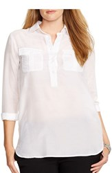 Plus Size Women's Lauren Ralph Lauren Cotton And Silk Tunic Shirt White
