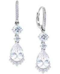 Eliot Danori Rhapsody Gold Tone Cubic Zirconia Drop Earrings Silver