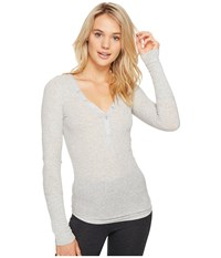 Pj Salvage Just Peachy Ribbed Long Sleeve Henley Heather Grey Women's Long Sleeve Pullover Gray