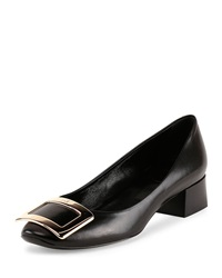Roger Vivier Belle De Nuit Leather Buckle Low Heel Pump Black