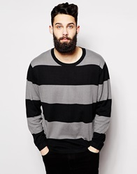 Cheap Monday Crew Knit Jumper Lean Block Stripe Blackalleygrey
