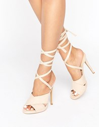 Truffle Collection Tie Ankle Rita Heeled Sandals Nude Micro Beige