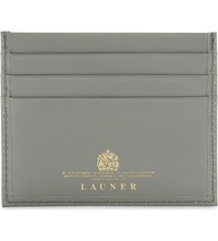 Launer Lizard And Calf Leather Card Holder Dove Grey