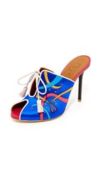 Malone Souliers X Natalia Vodianova Natalia Mules Blue Light Grey Red Black