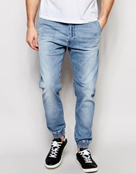 Diesel Jog Jeans Duff 873E Cuffed Tapered Fit Stretch Light Wash Blue