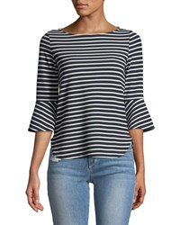 Casual Couture 3 4 Bell Sleeve Striped Blouse Blue White