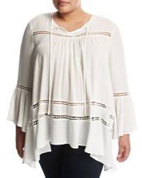 Cirana Plus Bell Sleeve Lace Inset Top Off White