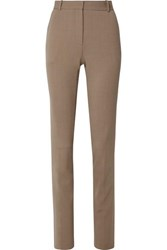 The Row Roosevelt Wool Blend Crepe Skinny Pants Camel
