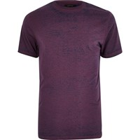 River Island Mens Purple Burnout Slim Fit T Shirt